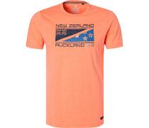 T-Shirt, Baumwolle, leuchtorange meliert