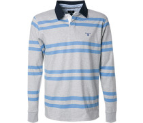 Rugby-Shirt, Baumwolle, hellgrau gestreift