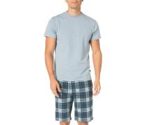 T-Shirt, Baumwolle, graublau meliert