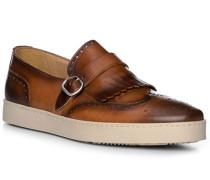 Schuhe Slipper, Leder, testa di moro