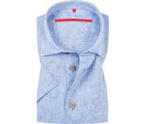 Hemd, Classic Fit, Leinen, azurblau meliert