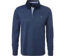 Rugby-Shirt, Baumwolle, dunkelblau meliert