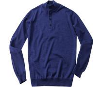Pullover Troyer, Schurwolle, kobaltblau