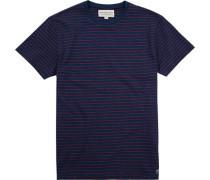 T-Shirt, Baumwolle, navy-rot gestreift