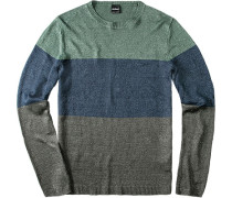 Pullover, Leinen, grün- gestreift