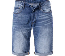 Blue-Jeans Shorts, Baumwolle, indigo