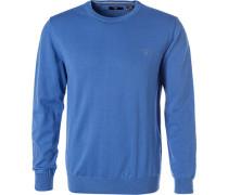 Pullover, Baumwolle, azurblau
