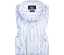 Hemd, Slim Fit, Oxford, -weiß gestreift