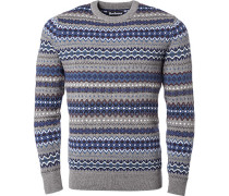 Pullover Pulli, Wolle, blau- gemustert