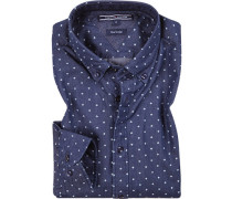 Hemd, Baumwolle, indigo gemustert