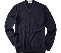 Pullover, Schurwolle, marineblau meliert
