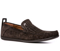 Schuhe Slipper, Veloursleder, dunkelbraun