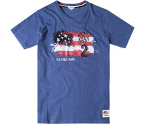 T-Shirt, Baumwolle, capriblau