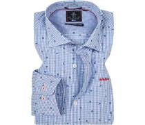 Hemd, Popeline, blau kariert