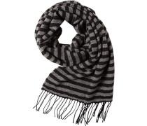 Schal, Wolle, schwarz-hellgrau gestreift