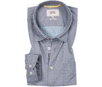 Hemd,Regular Fit, Popeline, blaugrau-rot
