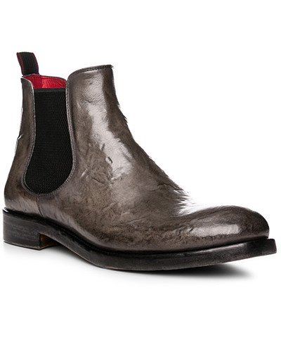 rosso e nero Herren Schuhe Chelsea Boots, Leder, grigio
