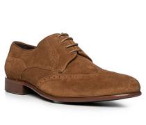 Schuhe Budapester, Veloursleder, zimtbraun
