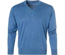 Pullover, Seide-Baumwolle, kobaltblau