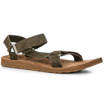 Schuhe Sandalen, Nubukleder, olivgrün