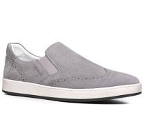 Schuhe Slip Ons, Veloursleder, hellgrau