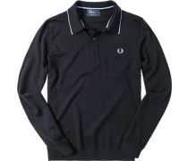 Polo-Shirt, Wolle-Strick, navy
