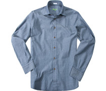 Hemd, Slim Cut, Baumwolle, meliert