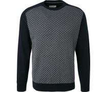 Pullover, Baumwolle, dunkelblau gemustert