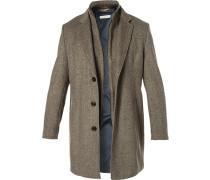 Mantel, Wolle, graubraun meliert