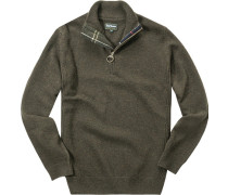 Pullover Troyer, Wolle, olive meliert
