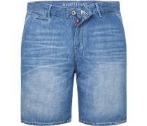 Jeansshorts, Baumwolle-Leinen, jeansblau
