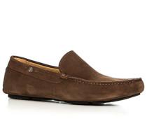 Schuhe Slipper, Veloursleder, nougat