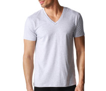 T-Shirt, Baumwoll-Stretch, hellgrau