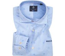 Hemd, Popeline, bleu gemustert