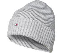 Mütze, Baumwolle-Kaschmir, hellgrau