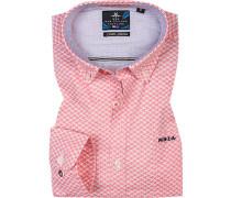 Hemd, Baumwolle, weiß-pink gemustert