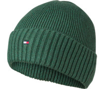 Mütze, Baumwolle-Kaschmir, flaschengrün