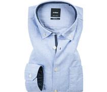 Hemd, Modern Fit, Baumwolle, bleu