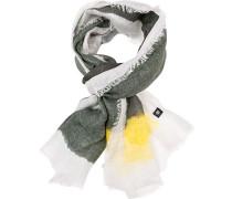 Schal, Leinen, olivgrün-weiß