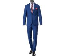 Anzug, Schurwolle, royalblau meliert
