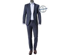 Anzug, Slim Fit, Wolle, dunkelblau meliert