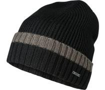 Mütze, Schurwolle, schwarz-dunkelgrün
