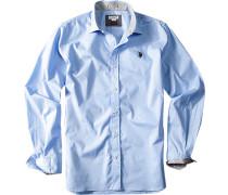 Hemd, Slim Fit, Baumwolle, himmelblau