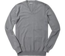 Pullover, Baumwolle, mittelgrau