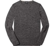 Pullover, Merino-Leinen, dunkelgrau meliert