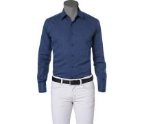 Hemd, Slim Fit, Leinen, jeansblau meliert
