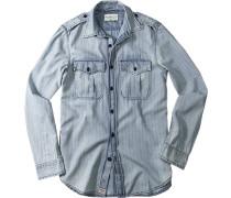 Hemd, Fischgrat, jeansblau