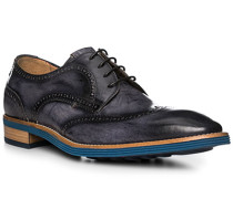 Schuhe Budapester, Leder, blu-nero