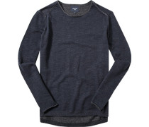 Pullover, Baumwolle, navy-grau meliert