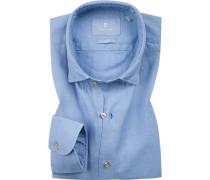 Hemd, Slim Fit, Baumwolle-Leinen, bleu
